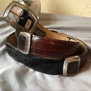 Brighton Leather Belt M Black Brown Silver